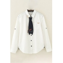 Creative Womens Shirt Cat Embroidered Curved Hem Button down Long Sleeve Spread Collar Loose Fit Shirt with Tie