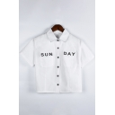 Hot Fashion Polo Neck White Button Front Short Sleeve Letter Rock More Print Fitted Umbilical Shirts