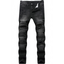Men's Popular Fashion Black Retro Denim Washed Stretched Slim Fit Ripped Biker Jeans