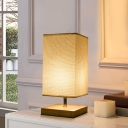 Fabric Rectangular Table Light Japanese 1 Bulb Desk Lamp in Flaxen with Wood Base