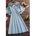 Youthful Women's Shirt Dress Solid Color Tied Button Design Peter Pan Collar Long Sleeves Regular Fit Shirt Dress