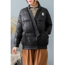 Basic Women's Down Coat Quilted Solid Color Button-down Flap Pockets V Neck Long Sleeves Relaxed Fit Down Coat