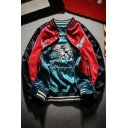 Trendy Reversible Embroidery Color Block Jacket with Striped Trim