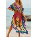Tribal Style Women's T-Shirt Dress Leopard Pattern Contrast Panel Side Slits Half Batwing Sleeves V Neck T-Shirt Dress