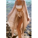 Womens Jacket Trendy High-Low Hem Knitted Tie Waist Open Front Long Sleeve Mid-Length Loose Fitted Cover-up Beach Jacket