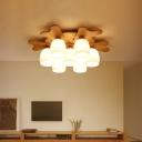 Antler Wooden Semi Mount Lighting Nordic 1/4/7-Bulb Beige Ceiling Flush Light with Bell Opal Glass Shade