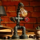 Brass/Copper Pipe Man Table Light Industrial Metal 1 Head Boys Room Night Stand Lamp with Naked Bulb Design