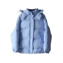 Womens Jacket Stylish Solid Color Bungee-Style Drawstring Waist Zipper down Loose Fit Long Sleeve Hooded Puffer Jacket
