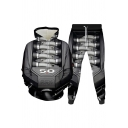 Novelty Mens Co-ords 3D Machine Element Pattern Long Sleeve Hoodie Ankle Length Tapered Pants Loose Fit Jogger Co-ords