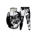 Basic Mens Co-ords 3D Smoke Print Long Sleeve Hoodie Ankle Length Tapered Pants Slim Fit Jogger Co-ords
