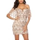 Vintage Womens Dress Sequin Decoration Mini Slim Fitted Ruffle off Shoulder Deep V Neck Short Sleeve Bodycon Dress