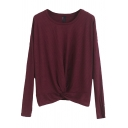 Basic Women's Knit Top Twist Front Pleated Crew Neck Long-sleeved Regular Fit Knit Top