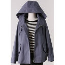 Fancy Women's Trench Coat Solid Color Drawstring Hooded Zipper Fly Long-sleeved Regular Fitted Coat