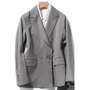 Formal Women's Suit Jacket Solid Color Flap Pockets Button Fly Notched Lapel Collar Long Sleeves Regular Fitted Suit Jacket
