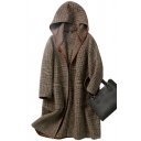 Womens Coat Unique Houndstooth Pattern Pockets Button down Loose Fit Long Sleeve Mid-Length Hooded Wool Coat
