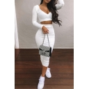 Trendy Women's Co-ords Solid Color Rib Knitted V Neck Long Sleeves with Skirt Two Piece Set
