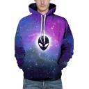 Basic Womens 3D Hoodie Alien Galaxy Pattern Kangaroo Pocket Drawstring Long Sleeve Slim Fit Hooded Sweatshirt