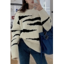 Retro Women's Sweater Geometric Pattern Rib-Knit Trim Crew Neck Long-sleeved Relaxed Fit Pullover Sweater