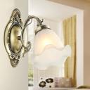 Ivory Glass Bronze Wall Lighting Fixture Bellflower 1/2-Light Rustic Wall Mount Light for Hallway