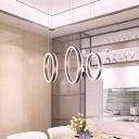 Minimalist 2/3-Head Drop Pendant Coffee Circular Small/Large Pendulum Light with Acrylic Shade, Warm/White Light