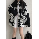 Unique Black and White Cow Printed Long Sleeve Zip Up Sherpa Fleece Oversized Sweatshirt