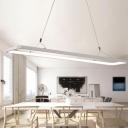 White Rectangular LED Island Light Simple Style Acrylic Hanging Lamp in Warm/White Light, 23.5