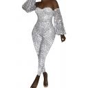Retro Womens Jumpsuit Sequin Decoration off Shoulder Slim Fitted Long Bishop Sleeve Jumpsuit