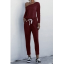 Retro Womens Jumpsuit Solid Color Pockets Drawstring-Waist Sloping Shoulder Slim Fitted Long Sleeve Jumpsuit