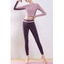 Quick Dry Women's Set Contrast Panel Round Neck Long-sleeved Slim Fitted T-Shirt with High-Waist Ankle-Knee Pants Yoga Set