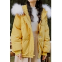 Womens Jacket Stylish Detachable Fur-Trimmed Collar Thick Zipper up Hooded Loose Fit Long Raglan Sleeve Padded Jacket