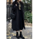 Warm Thickened Woolen Coat Plain Button Closure Side Pocket Spread Collar Long-sleeved Regular Fitted Woolen Coat