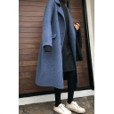 Fancy Womens Woolen Coat Space Dye Knitted Flap Pockets Button Closure Notched Collar Long Sleeves Regular Fitted Woolen Coat