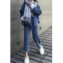 Stylish Womens Set Space Dye Pattern Open Front Shawl Collar Long-sleeved Cardigan with Pants Co-ords
