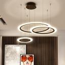 Black 3/4 Tiered Hoop Hanging Pendant Simplicity LED Acrylic Chandelier Light Fixture