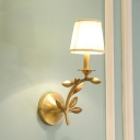 Fabric Gold Finish Wall Light Tapered 1/2-Head Country Style Sconce Lighting Fixture with Twig Shaped Arm