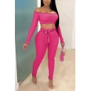 Elegant Women's Set Solid Color Ruched Front Long Sleeves off the Shoulder Contrast Lettuce Trim Slim Fitted Cropped Tee Top with Tie Detail High Waist Long Pants Co-ords