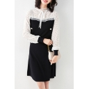 Fashionable Women's A-Line Dress Patchwork Contrast Polka Dot Panel Lace Trim Rib Banded Trim Tie Front Long Sleeves Regular Fitted A-Line Dress
