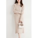 Fancy Women's Sweater Dress Ribbed Knit Solid Color Drawstring Hooded Long Sleeves Regular Fitted Midi Sweater Dress