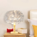Single Bedside Nightstand Light Minimalist Grey/White Table Lamp with Sphere Feather Shade