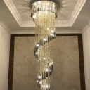 Spiral Crystal Draping Ceiling Pendant Modern Stainless Steel LED Suspended Lighting Fixture