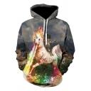Stylish Mens 3D Fire Unicorn Cat Pattern Pocket Drawstring Long Sleeve Regular Fit Hooded Sweatshirt