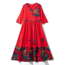 Womens New Fashion Round Neck Long Sleeve Floral Tribal Print Red Knit Swing Maxi Dress