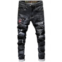Men's New Stylish Cool Monster Embroidery Stretch Regular Fit Black Ripped Jeans