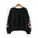 Basic Floral Embroidered Round Neck Long Sleeves Pullover Sweatshirt