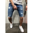 Novelty Mens Shorts Faded Wash Distressed Knee-Length Zipper Fly Slim Fitted Denim Shorts