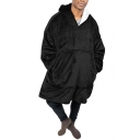 Novelty Mens Hoodie Plain Mink Cashmere Thick Drawstring Kangaroo Pocket Loose Fitted Tunic Long Sleeve Hoodie