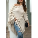 Fancy Shawl Sweater Solid Color Chevron Print Beading Tassel Detail Puffer Ball off the Shoulder Long Sleeves Relaxed Fit Shawl Sweater for Women