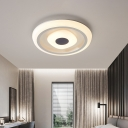 Childrens Bedroom LED Flush Light Fixture Nordic White Concentric Ceiling Lamp with Round/Square Acrylic Shade