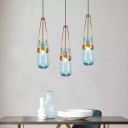 Blue/Clear Glass Droplet Pendant Light Mid-Century 1 Bulb Ceiling Suspension Lamp with Gold Bracket