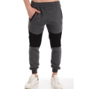Men's New Fashion Colorblock Patched Logo Printed Drawstring Waist Grey Casual Slim Sweatpants Sports Pencil Pants